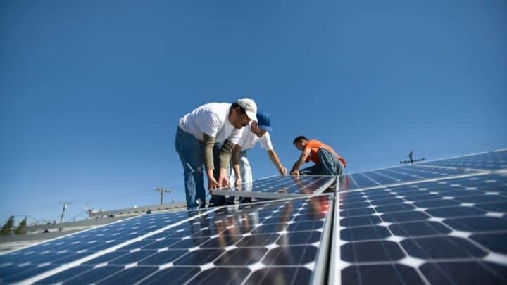 Putting solar panels in place