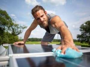 Clean Solar Panel Caravan Roof