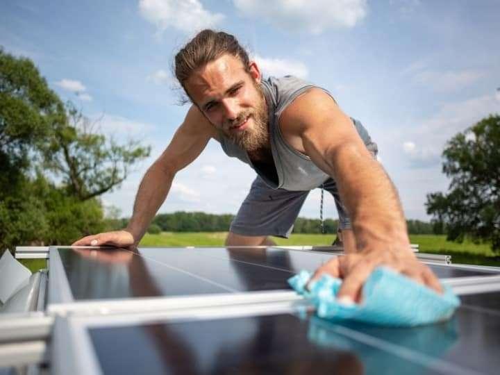 Clean Under Solar Panels On a Caravan Roof