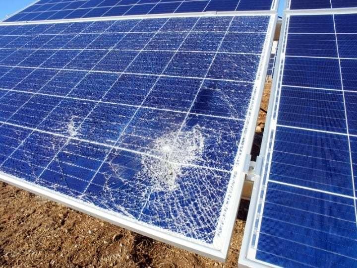 Damaged solar panel cracked glass