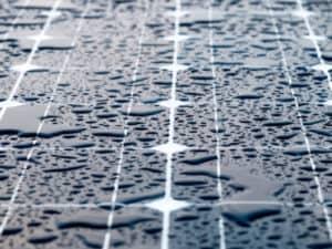 Pools of Rain on a Solar Panel