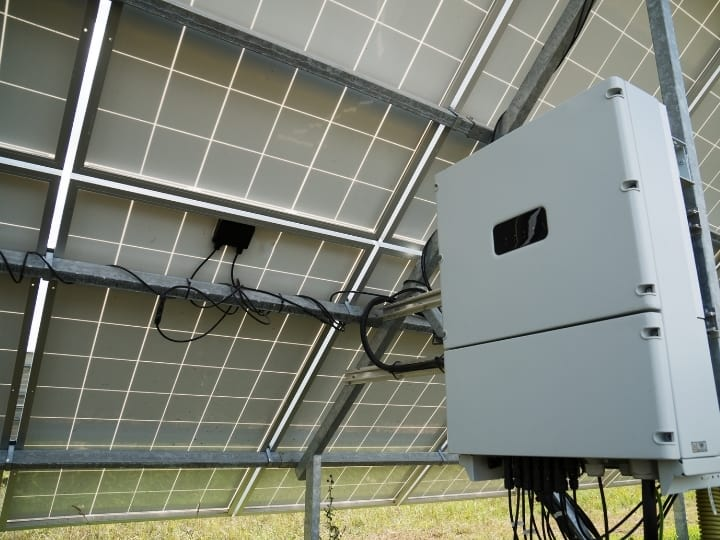 Solar Panel Inverter Under a Solar Panel