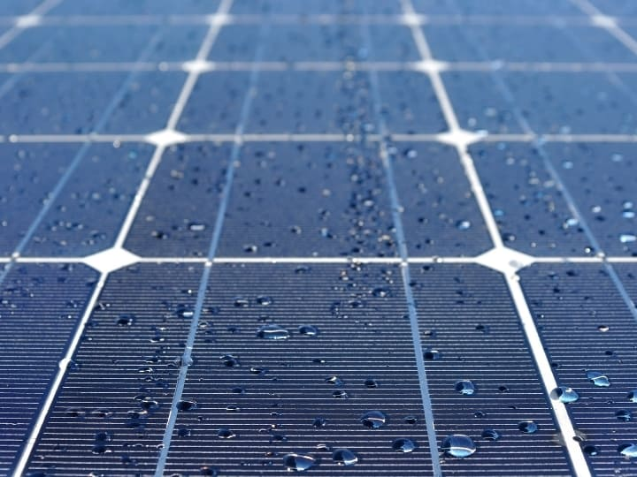 Solar Panel with beads of water
