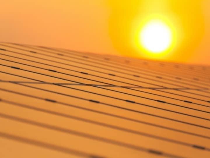Sun Beating Down On Solar Panels