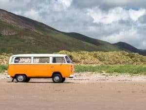 VW Camper Van In the desert