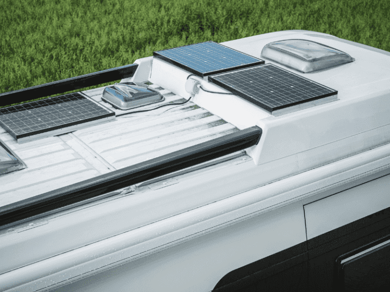 A solar panel on the roof of an RV
