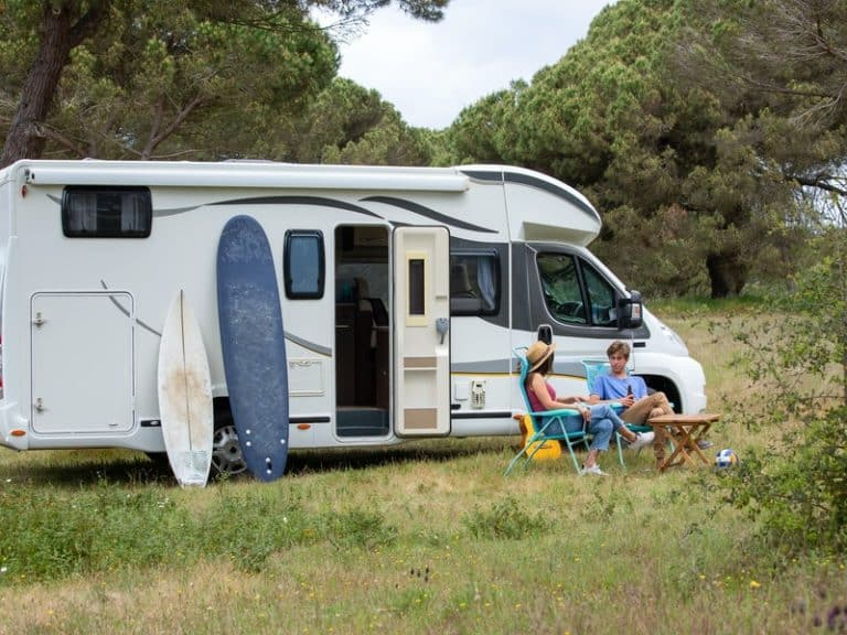 Campin with an RV with solar panels