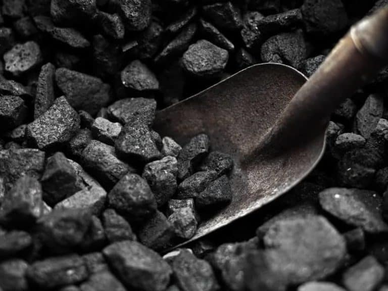 Coal pile and shovel