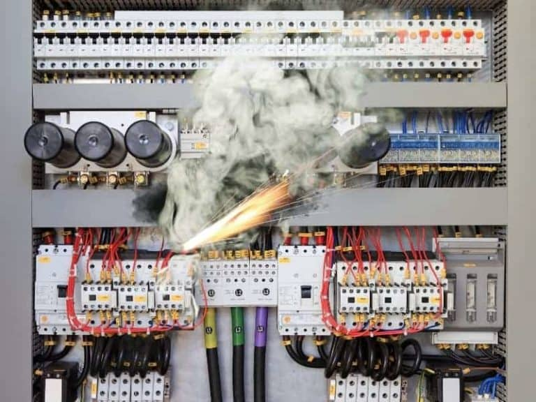 Electric fire in a control panel